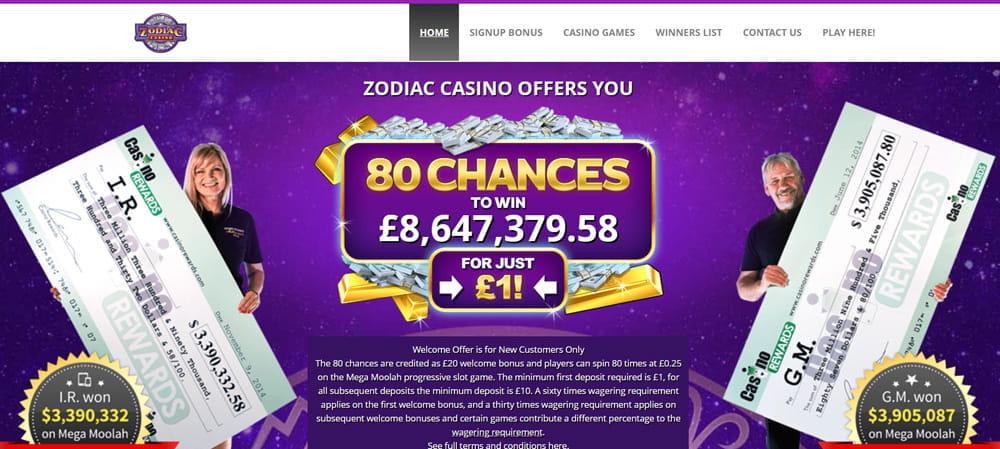 Zodiac Casino Gewinner